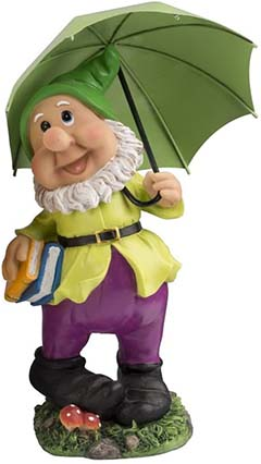 large gnome with green umbrella