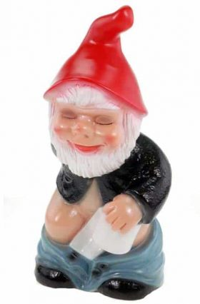 garden gnome holding toilet paper