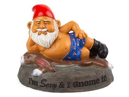 garden gnome in boxer shorts