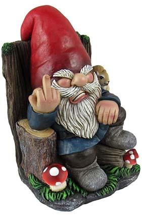 Grumpy gnome on throne
