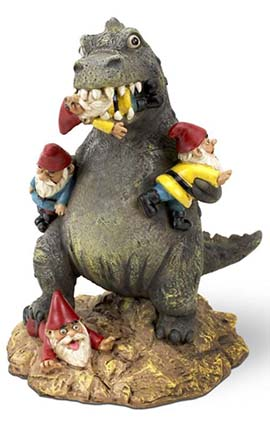 dinosaur eating garden gnome