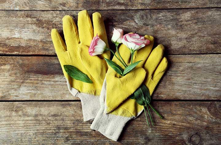gardening gloves with flower