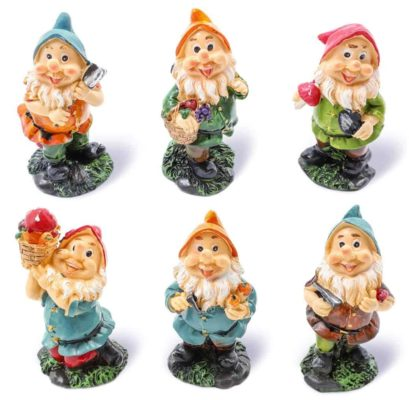 6 small garden gnomes with tools