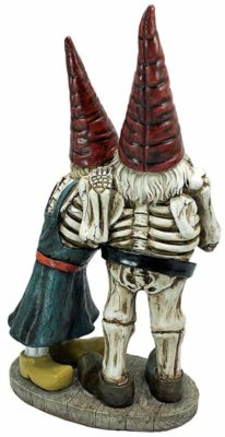 Skeleton Undead Evil Gnome Drinking Beer seen from behind