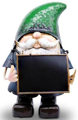Large metal gnome with chalkboard