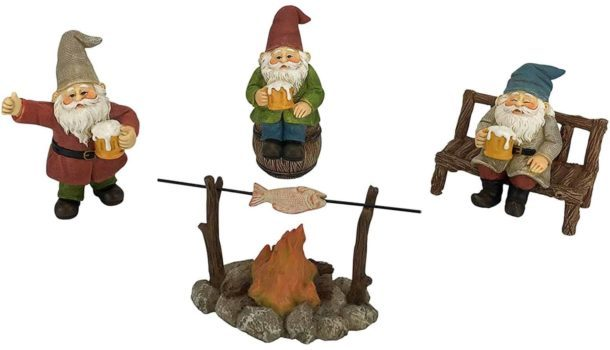 miniature beer drinking gnomes around a fire cooking a fish