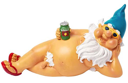 naked gnome with red flip flops, sunglasses and blue hat holding a can of beer