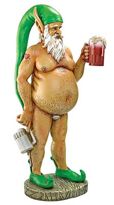 a garden naked gnome who likes his drink