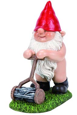 a naked gnome mowing the lawn