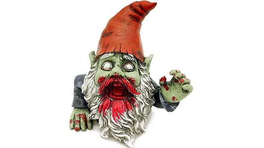 zombie gnome rising from the dead