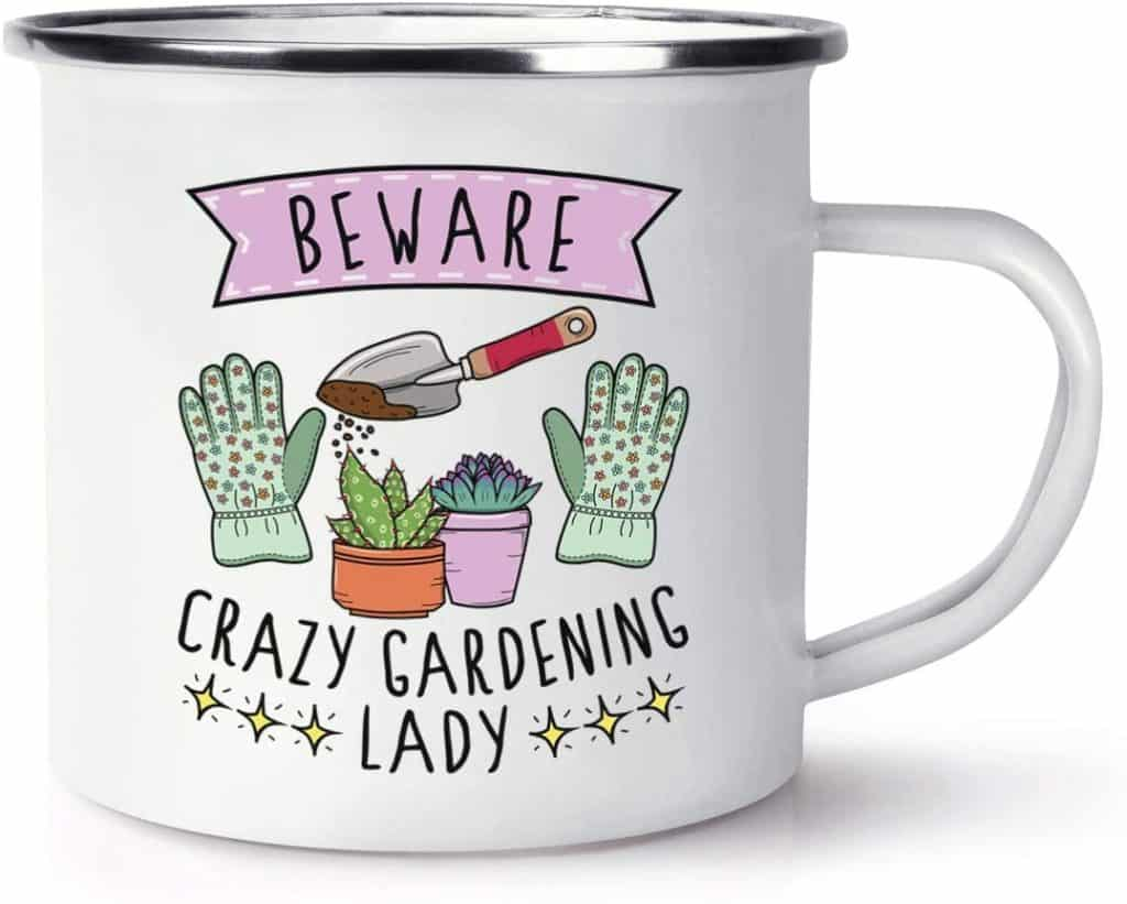 crazy gardening lady mug