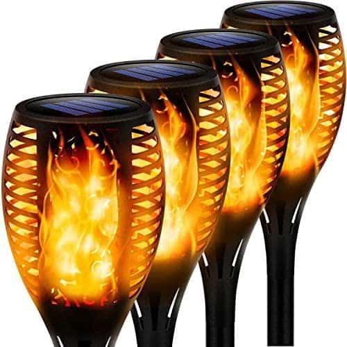 4 flame effect solar lights